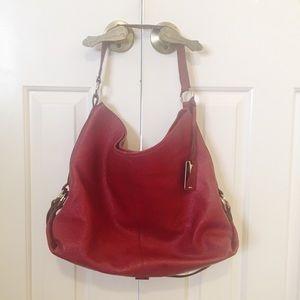 Deep red Furla pebbled leather hobo handbag. EUC.